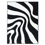Teppich Flachflor Hochwertig Modern Moda Konturenschnitt Wellen Muster Schwarz Weiss Größe 140/200 cm