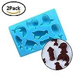 Tierform Schokoladenformen Silikon bpa frei Eiswürfelbehälter ungiftig diy Schokoladenherstellung Werkzeuge niedlich Wal Pinguin Fisch für Kinder - 2 Stück