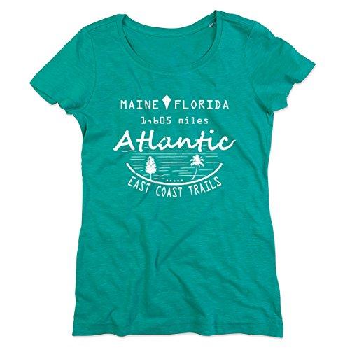 """Original Stedman® Premium T-Shirt mit sommerlichem Vintage-Print """"Maine - Florida. 1605 miles - Atlantic East Coast Trail"""" für Damen; weiches Flammgarn/Slub-Garn aus 100% Baumwolle Bahama Green"""