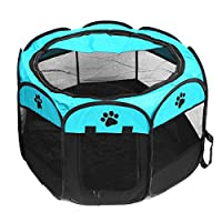 WWWANG Folding Portbale Pet Tent Dog House Cage Dog Cat Tent Baby Fence Puppy Kennel Easy Operation Octagonal Fence Outdoor Products (Color : Blue)