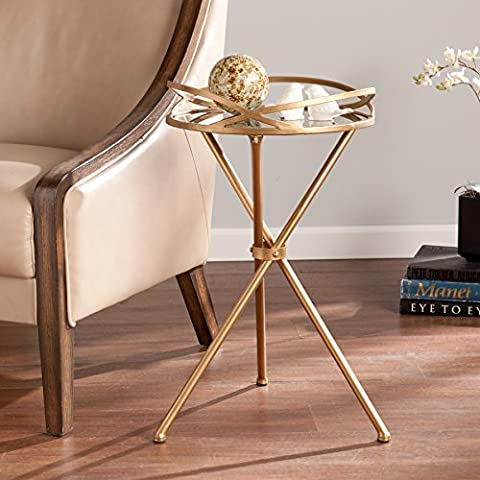 SEI Leslie Metal Mirrored Accent Table