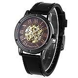 ManChDa Männer Armbanduhr Spezielle Burlywood Zifferblatt Mode Schwarz Lederband Automatische Mechanische Armbanduhr für Männer + Geschenkbox