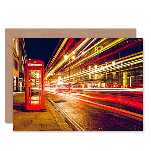 FINE ART PRINTS Streets of London Phone Box Greeting Card with Envelope Inside Premium Quality Straße - London Street Lights