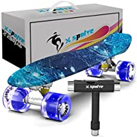 "22"" Complete Skateboard with Colorful LED Light Up Wheels for Kids,Youths, Beginners"