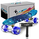 """22"""" Complete Skateboard with Colorful LED Light Up Wheels for Kids,Youths, Beginners(Free T-tool) (Galaxy with Transparent Blue Wheels)"""