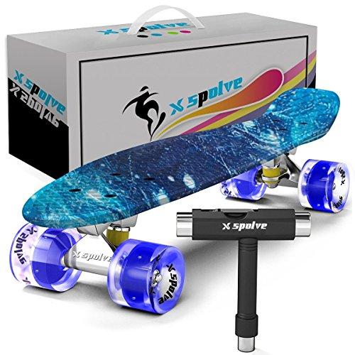 Xspolve 55cm Mini Cruiser Stil Skateboard mit Led-Leuchten für Kinder,Jugendliche,Erwachsene und Anfänger - Konvexe Leuchte