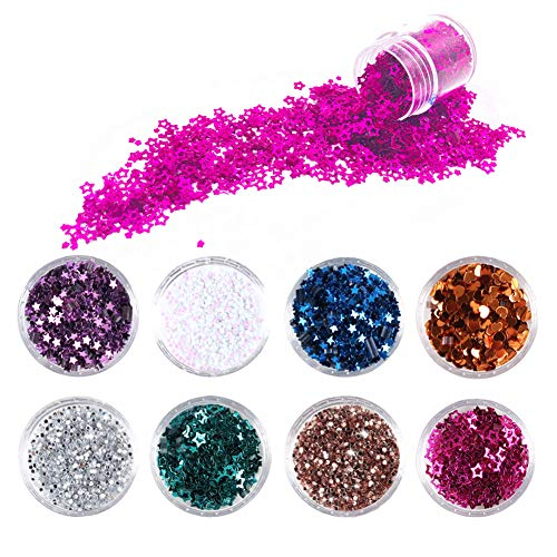 8 Colour Face Glitter Chunky Glitter Festival Glitter Faces and Bodies Cosmetic Hexagons Glitter Paillette Sparkling Decoration Glitter Hair and Nails