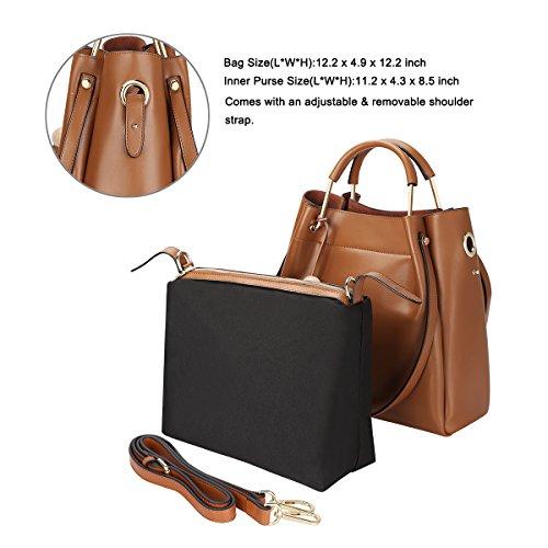 S-ZONE Borse a tracolla con borchie a tracolla in vera borsa con borse a tracolla in vera borsa a tracolla Marrone
