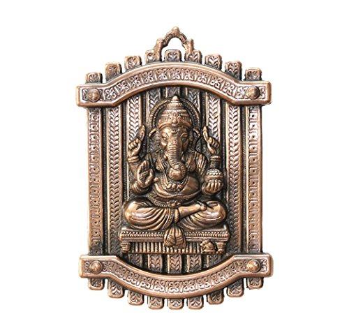 APKAMART Hand Crafted Lord Ganesh Wall Hanging - Ganpati in Sitting Pose - 13 Inch Height - Metal Wall Showpiece for Wall Decor, Room Decor, Home Decor and Gifts