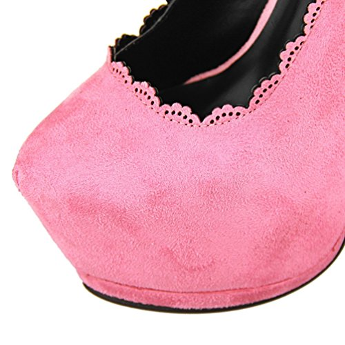HooH Femmes Platform Hollow Out Dentelle Stiletto Escarpins Rose
