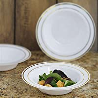 BalsaCircle 10 pcs 12 oz. Disposable Plastic Round Bowls - White with Gold Trim by BalsaCircle