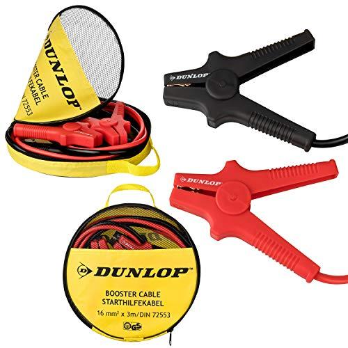 Dunlop Starthilfekabel 12V / 24V | 3m Länge | Querschnitt 16mm² | Vollisolierte Polklemmen| nach DIN 72553 | verwicklungsfreies Überbrückungskabel | GS geprüfte Sicherheit| inkl. Aufbewahrungstasche