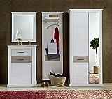 Stella Trading Modena Landhaus Garderobe Garderobenset 4-teilig, Holz, weiß, 260 x 42 x 208 cm