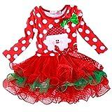 Baby Weihnachten Kleid Sonnena Christmas Mädchen Kleidung Kinder Partykleider Festliche Mädchenkleider Polka Dot Drucken Cocktailkleider Spitze Cupcake Miniröcke Bowknot (Rot, Baby 90)