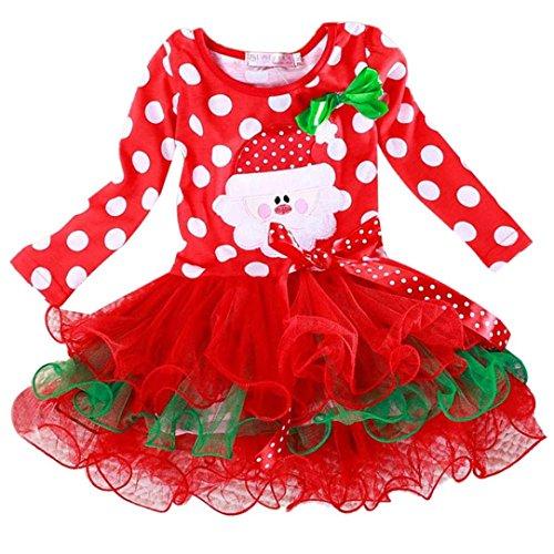 Baby Weihnachten Kleid Sonnena Christmas Mädchen Kleidung Kinder Partykleider Festliche Mädchenkleider Polka Dot Drucken Cocktailkleider Spitze Cupcake Miniröcke Bowknot (Rot, Baby 100)
