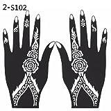 Sanwood - –-Hand Tattoo Aufkleber, 2PCS Henna Schablone temporäre Hand Tattoo Body Arts Aufkleber Vorlage Tools, PVC, weiß/Schwarz, 102