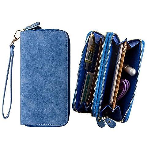 CellularOutfitter Dual Zipper Suede Phone Clutch/Wallet Case w/ Matching Detachable Wristlet - Blue