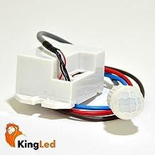 KingLed - Rilevatore di Presenza e di Movimento PIR 100º Tensione AC 220V Potenza Max 100W Led, Sensore Notturno Incasso LXM15 con Timer Spegnimento Regolabile da 5 Secondi a 8 Minuti, cod. 1536