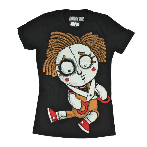 Akumu Ink Girl-Shirt Manic DOLL Black S - Black Ink Bekleidung