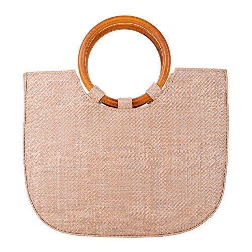 QZUnique Damen Sommer-Strand-Stroh-Handtasche lässige Satchel Straw Bag henkel Tote Schultertasche