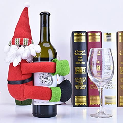 Tentock Christmas Large Protective Wine Bottle Cover Santa Claus/Snowman Doll for Holiday Decoration(Santa