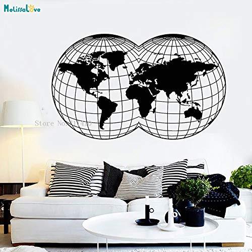 Chrom Wand Globus (zhuziji Einzigartige Form Karte wandtattoo globus Karte der Welt raumdekoration für Wohnzimmer Schlafzimmer Selbstklebende Kunst cool Mural weiß 93x56 cm)