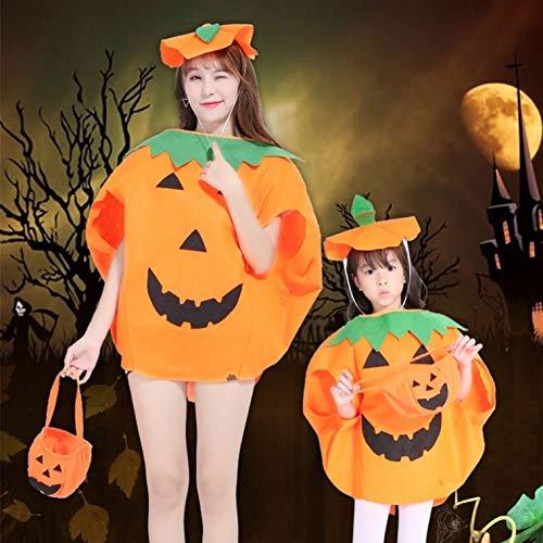 Zhongsufei Halloween-Spiele-Party Halloween Fancy Dress up Kürbis Kostüm 2 in 1 Set für Erwachsene Kinder Kinder Cosplay Party Kleidung Maskerade-Abendkleid