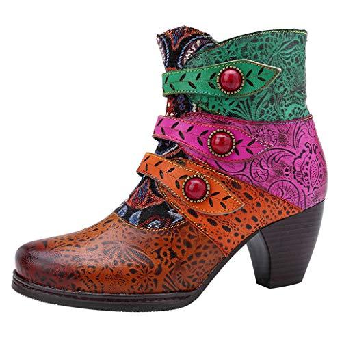 serliyRetro Damen Stiefel Mode Handgenähte Pirate Buckle Matching Boot Casual Ankle Boot Pure Farbe Schuhe Komfortable Sportstiefel Ethnisches Muster Westernabsatz Stiefeletten