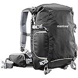 Mantona ElementsPro 30 Outdoor Rucksack (inkl. abnehmbaren Bauchgurt und Regenhülle, geeignet für DSLR- oder Systemkameraausrüstung) schwarz