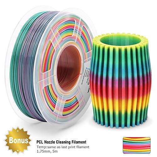 PLA Filament Rainbow, PLA Filament 1,75 mm, PLA 3D Drucker Filament, Maßgenauigkeit +/- 0,02 mm, 2,2 LBS (1 kg), 1,75 mm Filament, Bonus mit 5M PCL-Düsenreinigungsfilament
