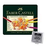 Faber-Castell 110024 - Künstlerfarbstift, 24 Polychromos Metalletui (24er Metalletui | inkl. Radierer)