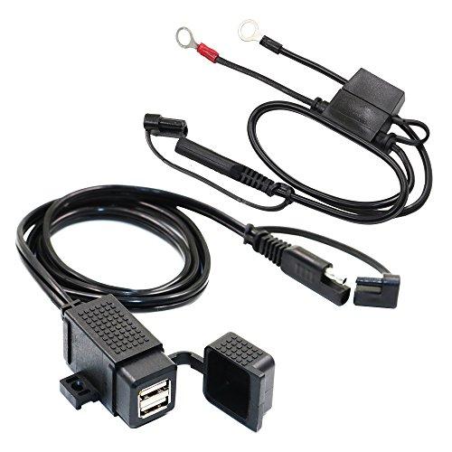 MOTOPOWER Caricabatterie doppio USB per moto, impermeabile, 3,1 A, con fusibile SAE Ring Terminal Cable Harness ...