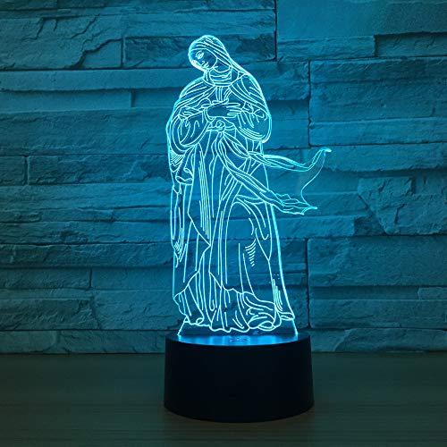 Bbdeng 3D-Nachtlicht Energie Sparen LED-Touch-Farbe Beleuchtung Kreative Kinder Schlafen Tischlampe USB Oder Batterie Madonna Remote control
