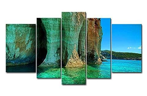 Leinwanddruck Bild Cliff in the Bay klares Wasser Beautiful Mountain 5Gemälde Moderne Giclée-gespannt und gerahmt-Kunstwerken Öl die Seascape Bilder Foto Drucke auf Leinwand