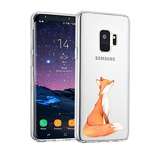 AIsoar ersatz für Samsung Galaxy S9 Plus Hülle,Galaxy S9 Plus Handyhülle TPU Crystal Stylisch Transparent Schutzhülle Kratzfest Stoßfest Anti-Fingerabdruck Case für Samsung S9 Plus (Gelber Fuchs)