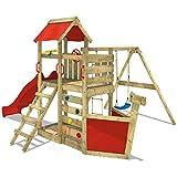 WICKEY Spielturm SeaFlyer Spielgerät Garten Kletterturm mit Schaukel, Rutsche und viel Zubehör, rote Rutsche + rote Plane