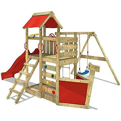 WICKEY Spielturm SeaFlyer Spielgerät Garten Kletterturm mit Schaukel, Rutsche und viel Zubehör, rote Rutsche + rote