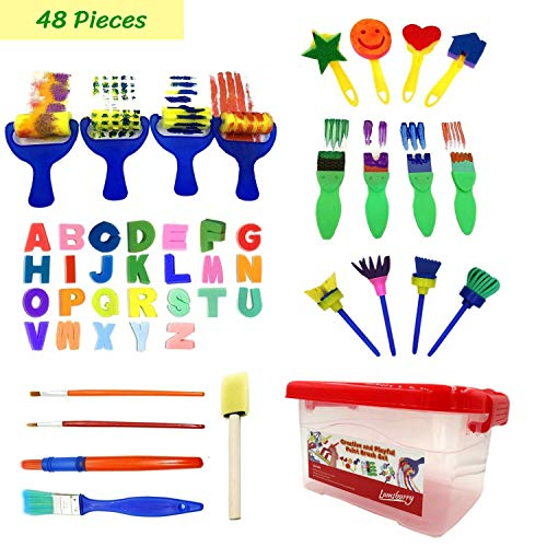 Lumsburry 48pcs Kids Art and Craft Early Learning Painting Sponges Stamp Mini Paint Brushes Kit Include 26 English Alphabets Drawing Tools (With Storage Box)