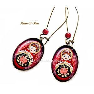 Russisches rotes schwarzes Cabochons der russischen Puppen der Ohrringe traditionelles Muster der Ohrringe Matrjoschka