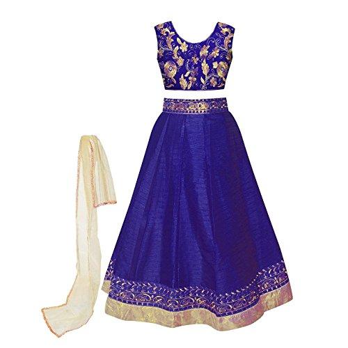 Clickedia Girls\' Georgette Navyblue Lehenga Choli (Designer Kids_Meera_Navy Blue_Free Size)