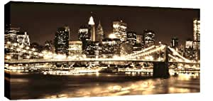 EXTRA LARGE SKYLINE CITY CANVAS PICTURE NEW YORK SEPIA mounted and ready to hang 42 x 20 inches by Canvas Interiors