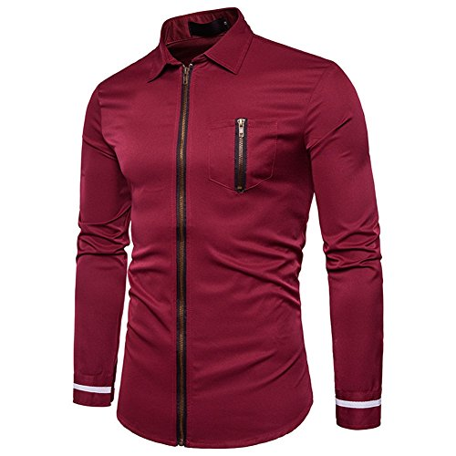 Yalatan Men's Fashion Slim Zipper Shirts Turn-down Collar Long Sleeve Blouse Casual Dress Shirts S-2XL winered
