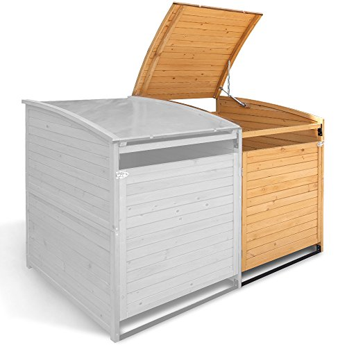 Mülltonnenbox Holz 240 L Gartenbox Mülltonnenverkleidung Mülltonne (Einzelbox + 2xAnbaubox) - 2