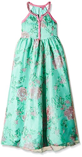 Biba Girls' Dress (KW1876H_Turquoise and Pink_5)
