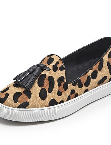 ZQ gyht Scarpe Donna - Mocassini - Ufficio e lavoro / Casual - Punta arrotondata - Piatto - Crine di cavallo - Nero / Blu / Leopardo , blue-us8 / eu39 / uk6 / cn39 , blue-us8 / eu39 / uk6 / cn39 leopard-us6.5-7 / eu37 / uk4.5-5 / cn37