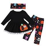 OverDose Damen 3 Stücke Kleinkind Baby Mädchen Kürbis Tops + Pants + Schals Halloween Cosplay Nette Dünne Weiche Kleidung Outfits Set