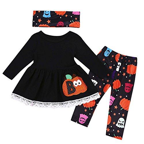 MRULIC 3Stück Baby Mädchen Kürbis Oberseiten und Hosen und Schals Halloween Kostüm Ausstattungs Sets(Schwarz,90cm) (Halloween Kostüme Frankensteins Braut Perücke)