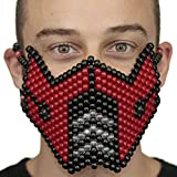 Red Sub Zero Mortal Kombat V1 Kandi Mask by Kandi Gear, rave mask, halloween mask, beaded mask, bead mask for music fesivals and parties