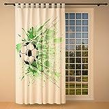 Clever-Kauf-24 Vorhang Gardine für das Kinderzimmer Fußball weiß BxH 145 x 245 cm | Sichtschutz | Lichtdurchlässig | Schlaufenschal fürs Vereinsheim