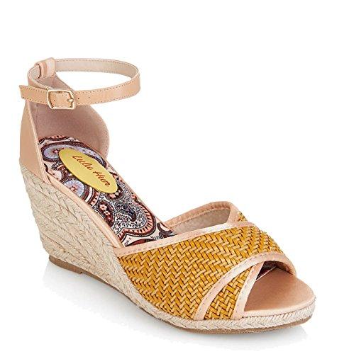 Lulu Hun JESSIE Vintage Ankle Strap TIKI Rope Pin Up 50s WEDGES Schuhe